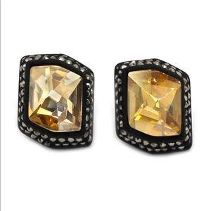Irregular yellow edge black crystal earrings
